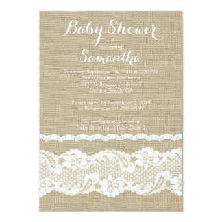 "Modern Burlap & Lace Baby Shower Invitation 5"" X 7"" Invitation Card"