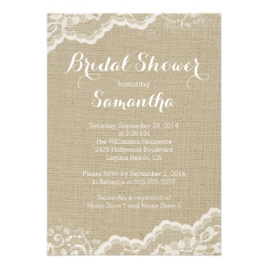 Modern Burlap & Lace Bridal Shower Invitation