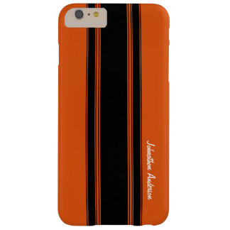 Modern Burnt Orange Racing Stripes With Name Barely There iPhone 6 Plus Case