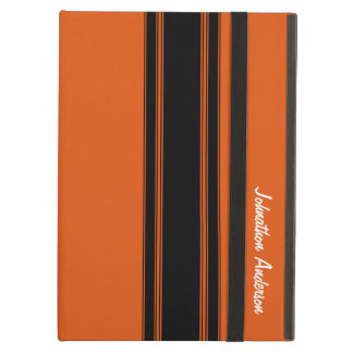 Modern Burnt Orange Racing Stripes With Name iPad Air Cases