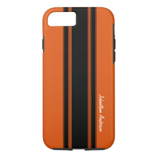 Modern Burnt Orange Racing Stripes With Name iPhone 7 Case