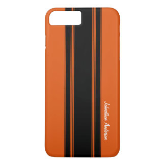Modern Burnt Orange Racing Stripes With Name iPhone 7 Plus Case