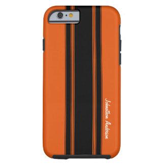 Modern Burnt Orange Racing Stripes With Name iPhone 6 Case
