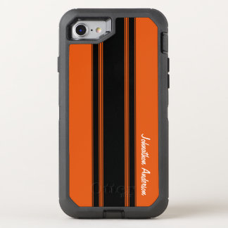 Modern Burnt Orange Racing Stripes With Name OtterBox Defender iPhone 7 Case