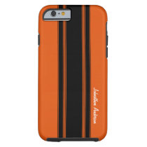 Modern Burnt Orange Racing Stripes With Name Tough iPhone 6 Case