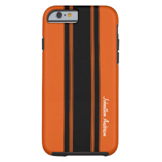 Modern Burnt Orange Racing Stripes With Name Tough iPhone 6 Case
