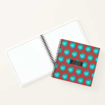 Beach Themed Modern Burnt Red With Teal Floral Pattern And Name Notebook