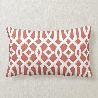 Modern Burnt Sienna and White Imperial Trellis Lumbar Pillow