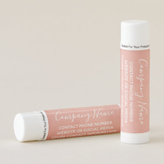 Modern Business Calligraphy 3 lines Text ROSE GOLD Lip Balm