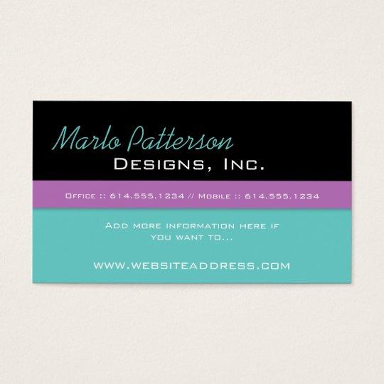 Modern Business Card :: Black, Turquoise & Purple