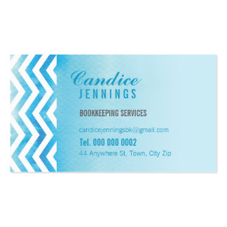 MODERN BUSINESS CARD : chevron watercolor blue