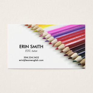 Esl teacher business cards templates zazzle modern business card no 66 pencil crayons reheart Images