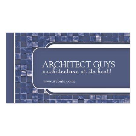 Unique Blue Mozaic Design Architect Business Cards