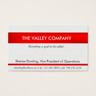 Modern Business card with red text inlay