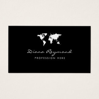 modern business card with white world map on black