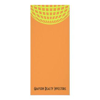 "Modern business yellow orange circle design 4"" x 9.25"" invitation card"