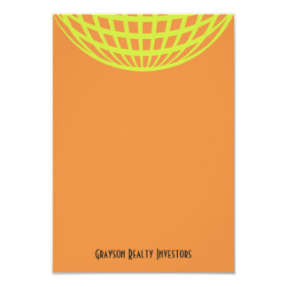 "Modern business yellow orange circle design 3.5"" x 5"" invitation card"