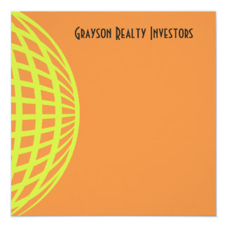 "Modern business yellow orange circle design 5.25"" square invitation card"