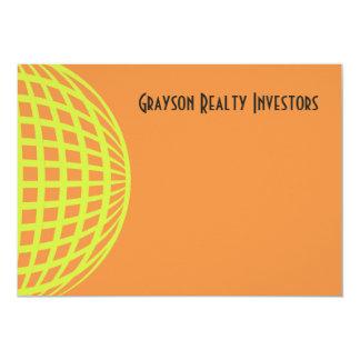 "Modern business yellow orange circle design 5"" x 7"" invitation card"