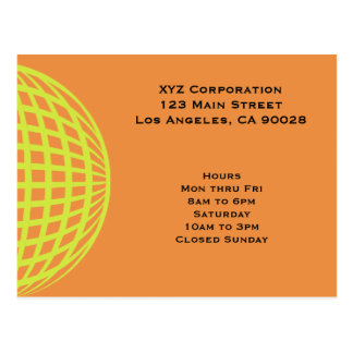 Modern business yellow orange circle design postcard