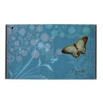 Modern Butterfly Linen Scroll Flourish Floral Case