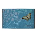 Modern Butterfly Linen Scroll Flourish Floral Case iPad Cover