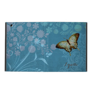 Modern Butterfly Linen Scroll Flourish Floral Case iPad Cover