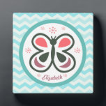"""Modern Butterfly Personalized Chevron Kids Design Plaque<br><div class=""""desc"""">This elegant butterfly design will make kids &amp; adults light up with joy! It&#39;s simple yet whimsical design is perfect for any age... .even adults can get down on this one!</div>"""