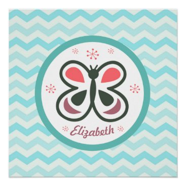Art Themed Modern Butterfly Personalized Chevron Kids Gift Poster