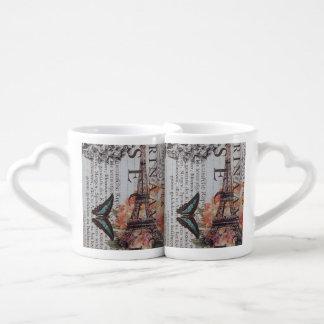 modern butterfly scripts eiffel tower paris couples' coffee mug set