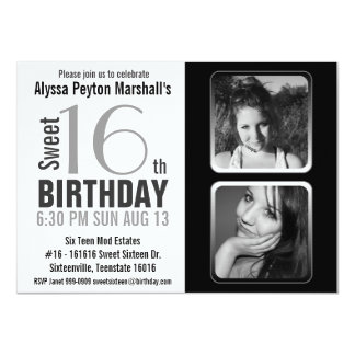 Modern BW 2 Photo Sweet 16 Party Invite