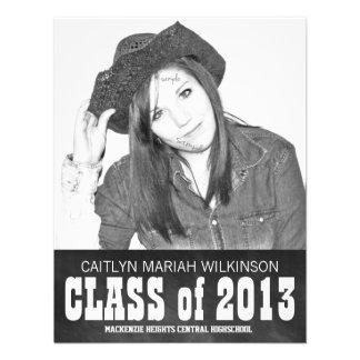 Modern BW Chalkboard Photo Grad Party Custom Invitation