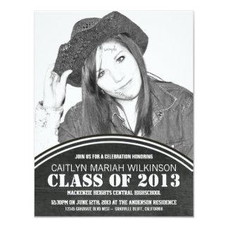 Modern BW Chalkboard Photo Grad Party 4.25x5.5 Paper Invitation Card