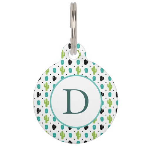 Modern Cactus flower pattern design Pet ID Tag