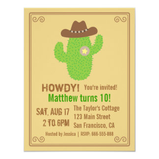 Modern Cactus Western Theme Birthday Party Card