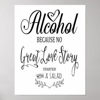 Modern calligraphy Alcohol bar sign print