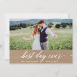 Modern Calligraphy Best Day Ever Wedding Kraft Thank You Card