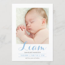 Modern Calligraphy Blue | Birth Announcement