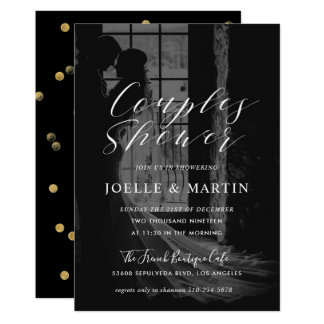 Modern Calligraphy Couples Shower Photo Il Card