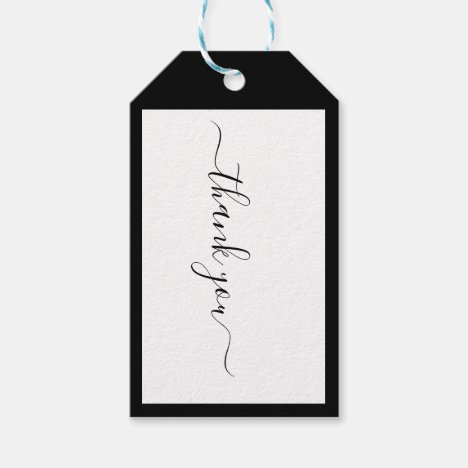 Modern Calligraphy Designer B&W Social Thank You Gift Tags
