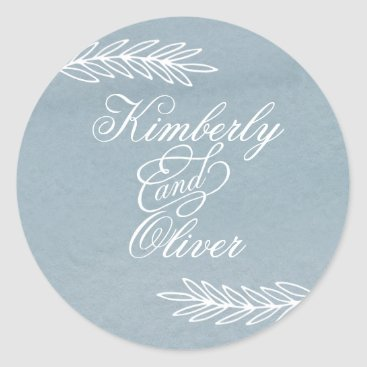 Modern Calligraphy Dusky Blue Wedding Invitation Classic Round Sticker