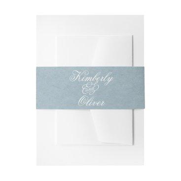 Modern Calligraphy Dusky Blue Wedding Invitation Invitation Belly Band