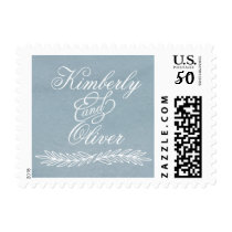 Modern Calligraphy Dusky Blue Wedding Postage