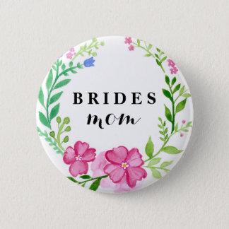 Modern Calligraphy Floral Bride's Mom Wedding Button