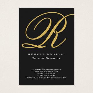 Modern Calligraphy Gold Monogram Business Card