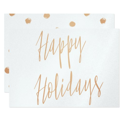 Modern calligraphy gold rose quot happy holidays card zazzle