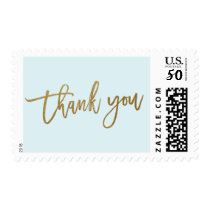 Modern calligraphy gold thank you postage stamp