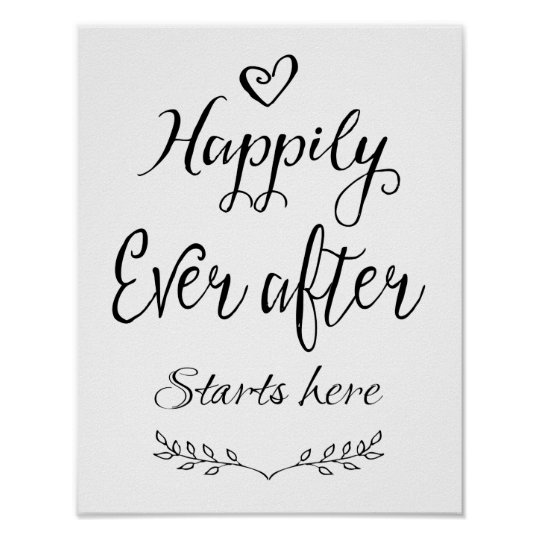 Modern calligraphy happily ever after start print zazzle