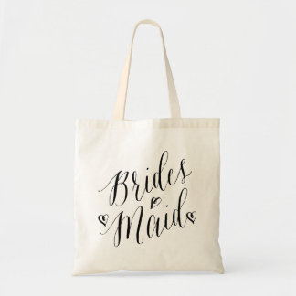 Modern Calligraphy Heart Wedding Party Bridesmaid Tote Bag