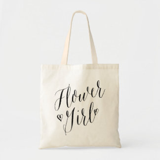 Modern Calligraphy Heart Wedding Party Flower Girl Tote Bag